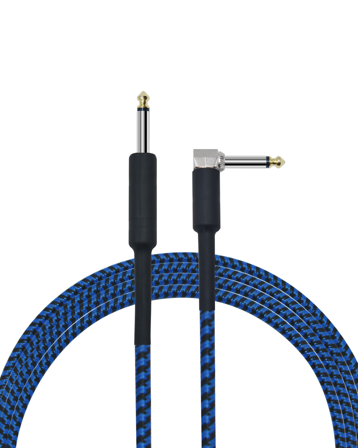 10 feet professional guitar instrument cable with a lively blue tweed coat Angle 1/4 Inch TS to Straight 1/4 Inch TS
