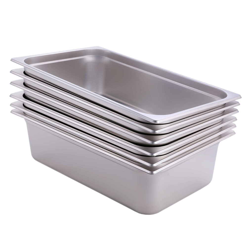 "Hakka 1/1 Size Stainless Steel Gastronorm Pans,2.5""Deep Gastronorm Containers- Pack of 6"