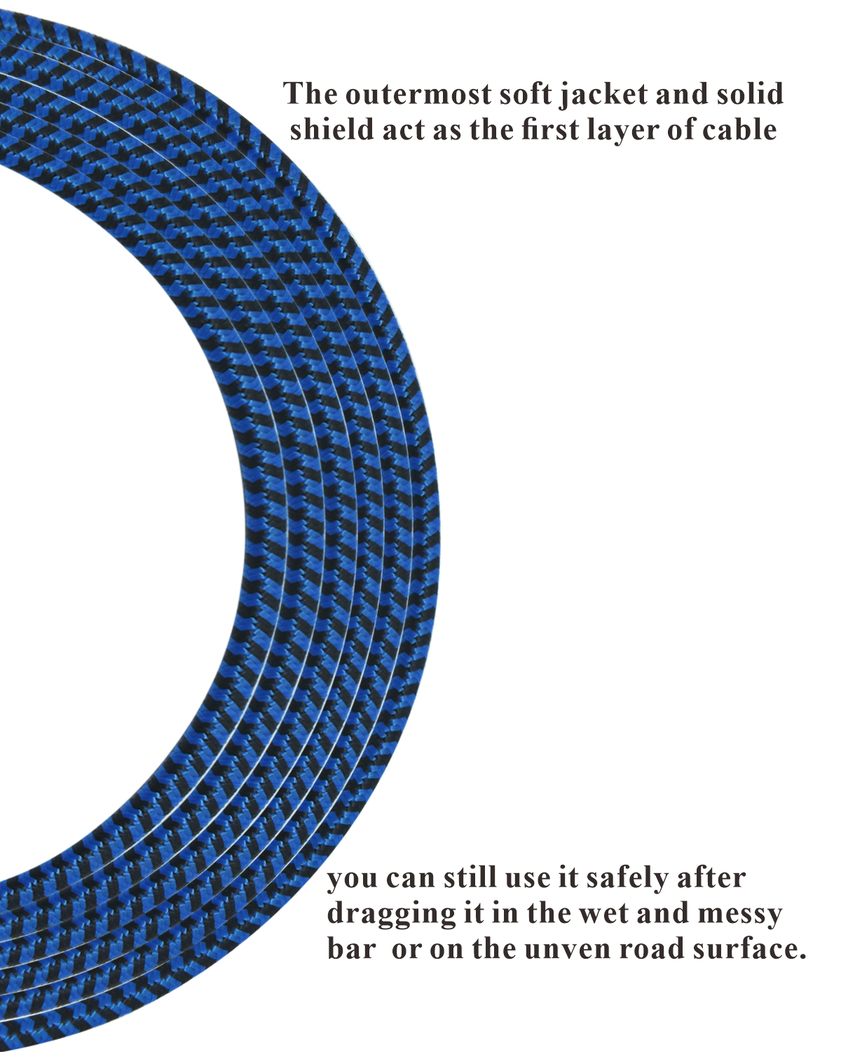 20 feet professional guitar instrument cable with a lively blue tweed coat Angle 1/4 Inch TS to Straight 1/4 Inch TS