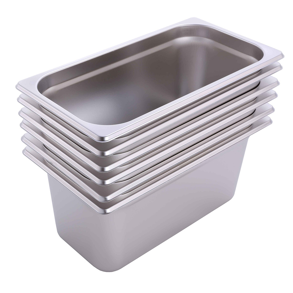 "Hakka 1/3 Size Stainless Steel Gastronorm Pans,4""Deep Gastronorm Containers- Pack of 6"