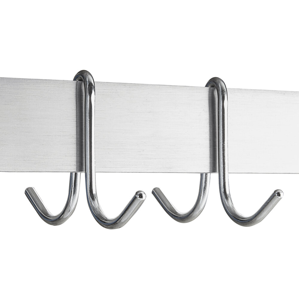 "Hakka 15"" x 72"" Commercial Stainless Steel Wall Mounted Pot Rack with Shelf and Hooks"