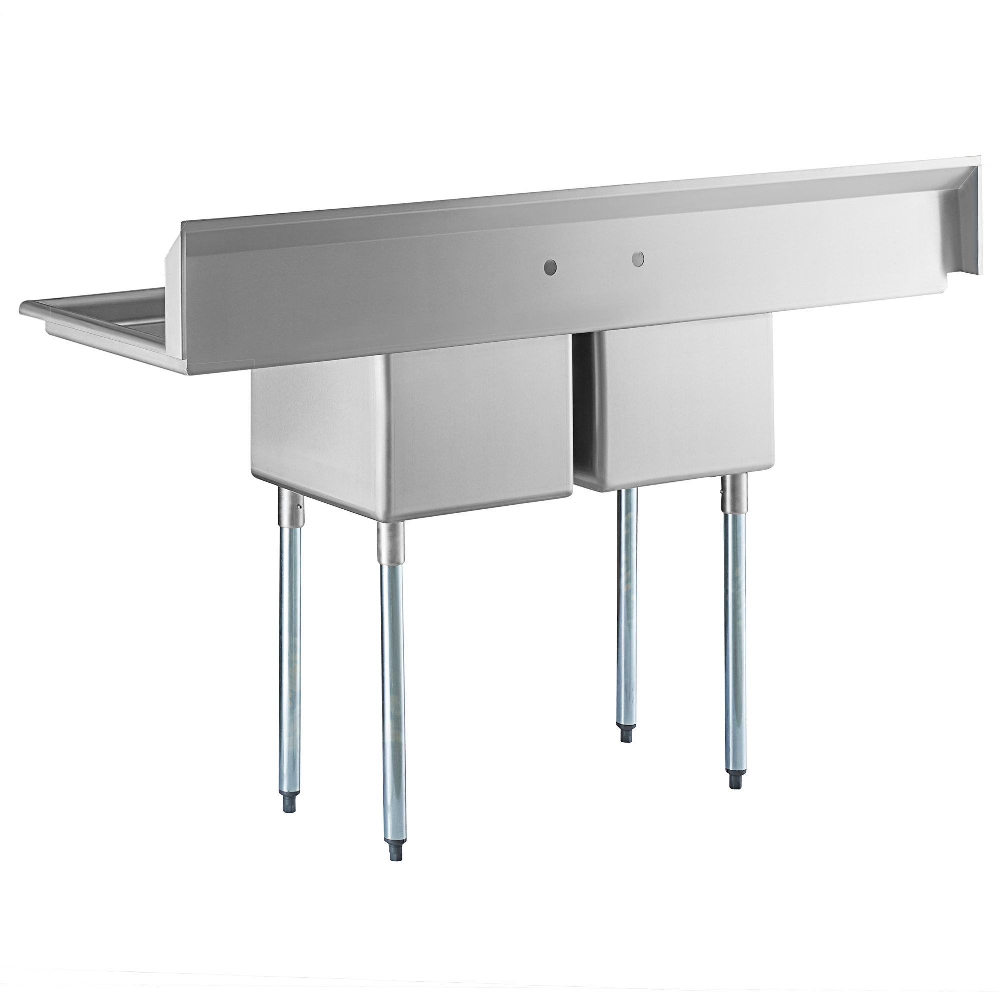 "Hakka 16 Gauge Stainless Steel Two Compartment Commercial Sink and Two Drainboard - 18""X18""X11""Bowl"