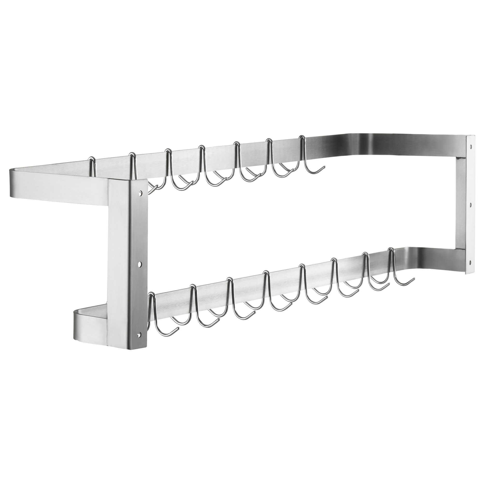 "Hakka 48"" Wall Mounted Commercial Stainless Steel Double Line Pot Rack"