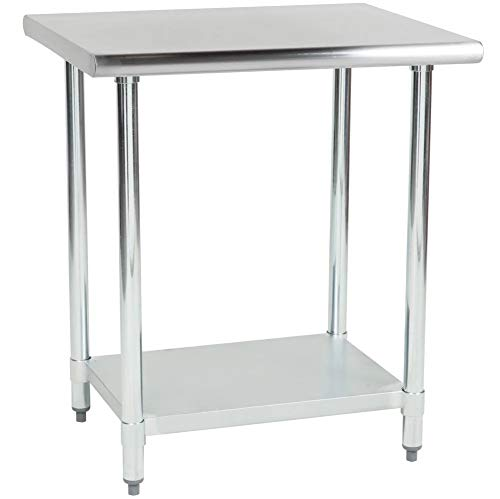 "Hakka 30"" x 48"" 18 Gauge 430 Economy Stainless Steel Commercial Work Table with Undershelf"