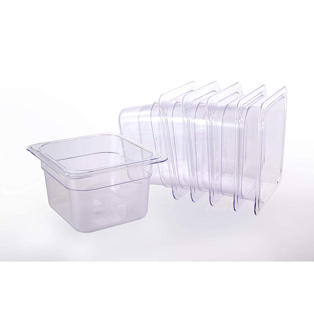 "Hakka 1/6 Size Polycarbonate Gastronorm Pans,4""Deep,Clear - Pack of 6"