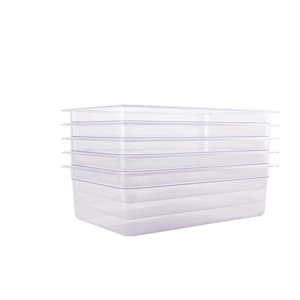 "Hakka 1/1 Size Polycarbonate Gastronorm Pans,2.5""Deep,Clear - Pack of 6"