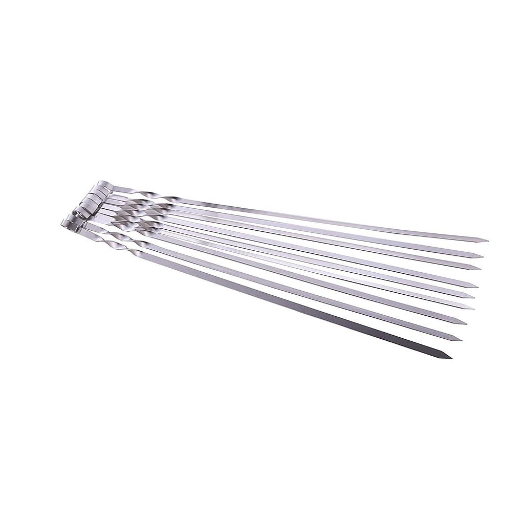 "Hakka Stainless Steel Barbecue Skewers, 23"" Heavy Duty Large Wide Grilling Reusable Kabob Sticks with Nonslip Ring Handle,Set of 10"