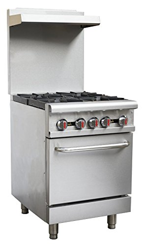 "Hakka Heavy Duty Commercial 24"" Gas 4 Burners Range with Oven (HB-RGR24)"
