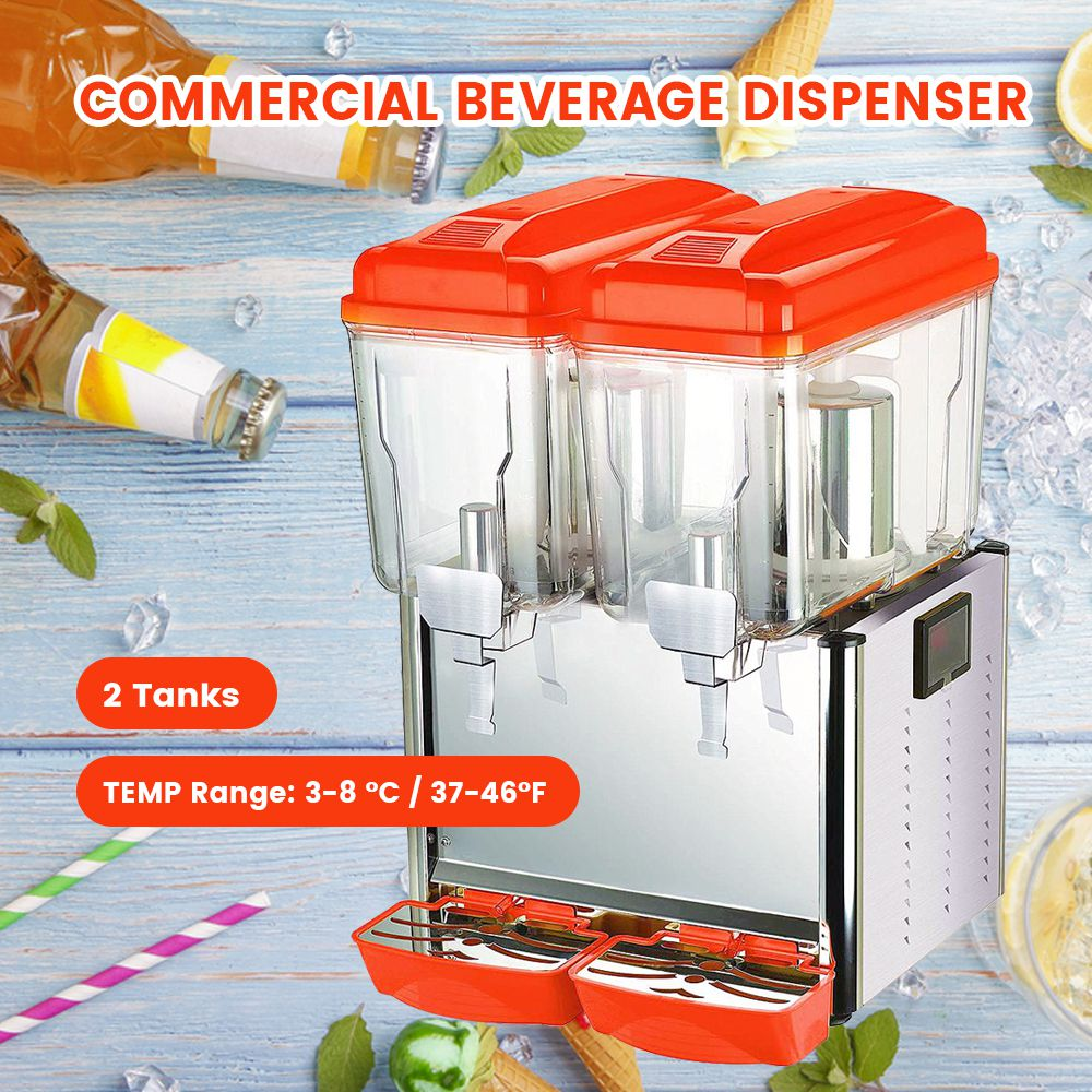 Hakka Commercial 2x12 Liter Bowl Refrigerated Beverage Dispenser