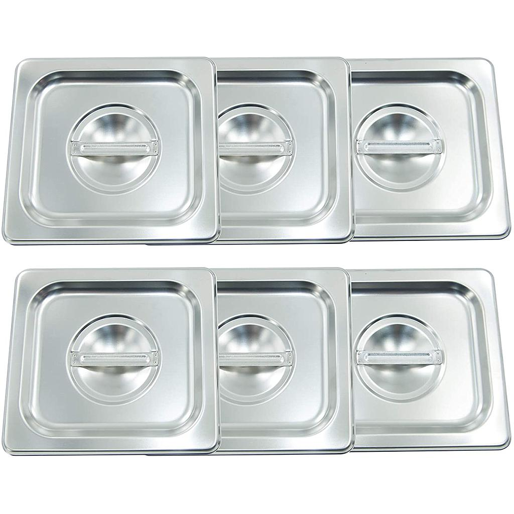 Hakka Stainless Steel Food Pans Lid &Food Containers Lid - Pack of 6 (1/6 Size-Lid)