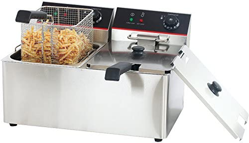 Hakka Commercial Stainless Steel Deep Fryers Electric Professional Restaurant Grade Turkey Fryers (2x8 Liter)