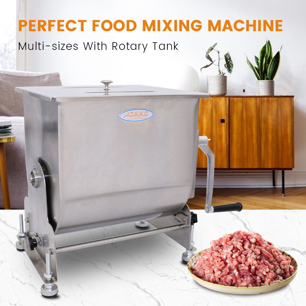 Hakka 80-Pound/40-Liter capacity Tilt Tank Stainless Steel Manual Meat Mixer (Mixing Maximum 60-Pound for Meat)