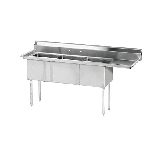 "Hakka 16 Gauge Stainless Steel Three Compartment Commercial Sink with Right Drainboard - 18"" x 18"" x 11"" Bowls"