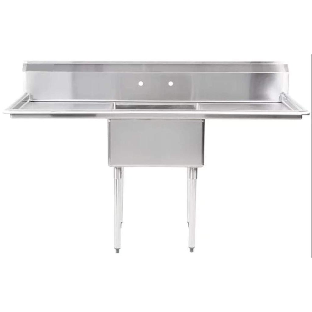"Hakka 16 Gauge Stainless Steel One Compartment Commercial Sink with 2 Drainboard - 18""X18""X11""Bowl"