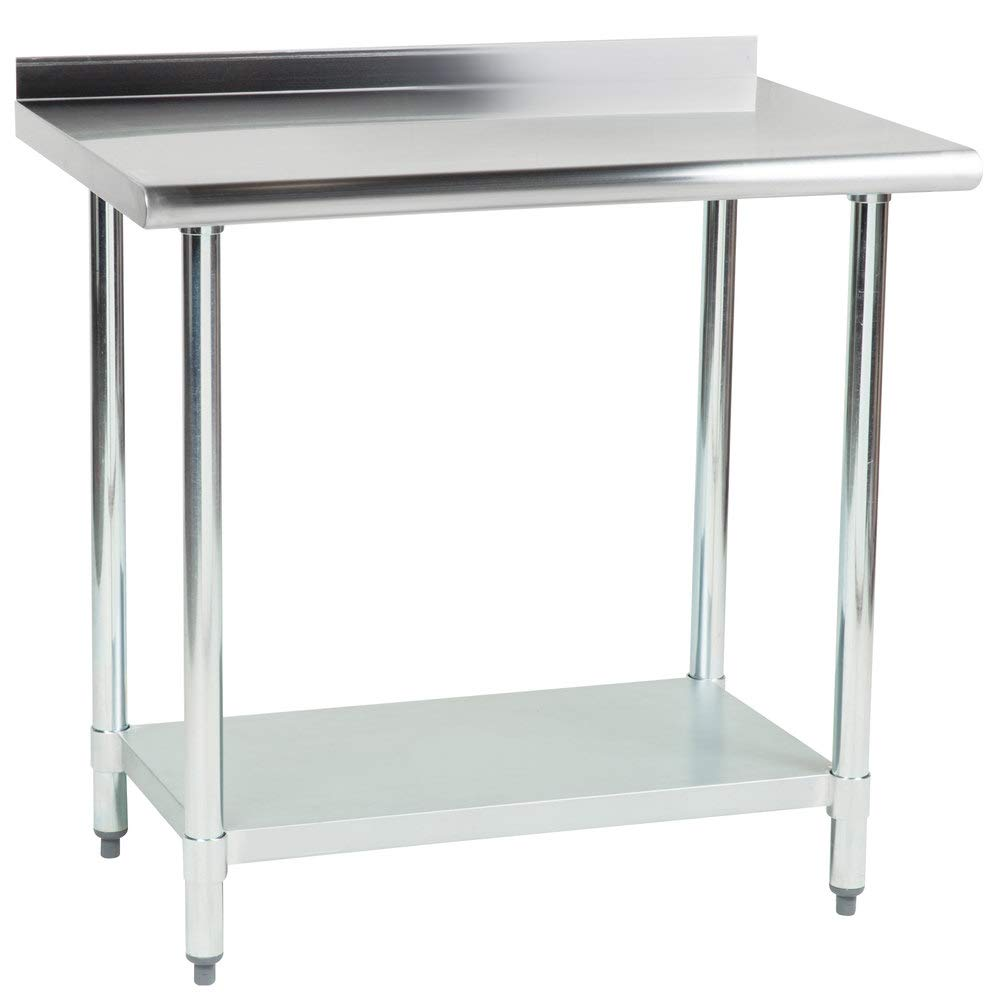 "Hakka 30"" x 36"" 18 Gauge 430 Economy Stainless Steel Commercial Work Table with Undershelf and 2"" Rear Upturn"
