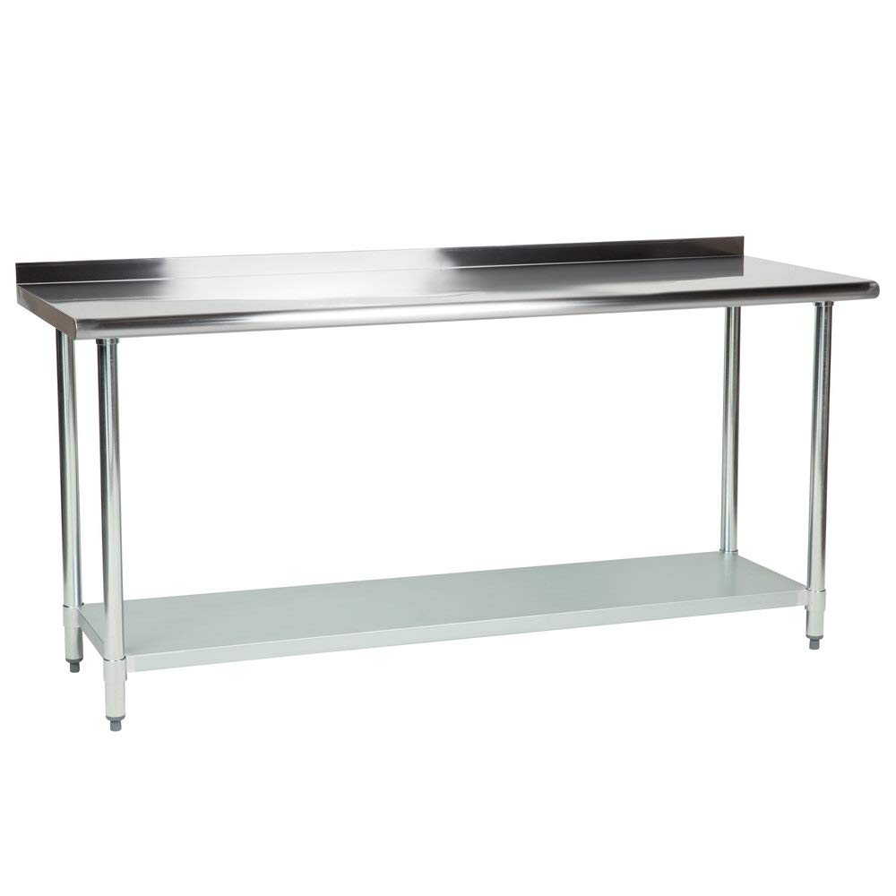 "Hakka 24"" x 72"" 18 Gauge 430 Economy Stainless Steel Commercial Work Table with Undershelf and 2"" Rear Upturn"